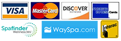 We Accept WaySpa and SpaFinder Gift Cards as well as most major credit cards